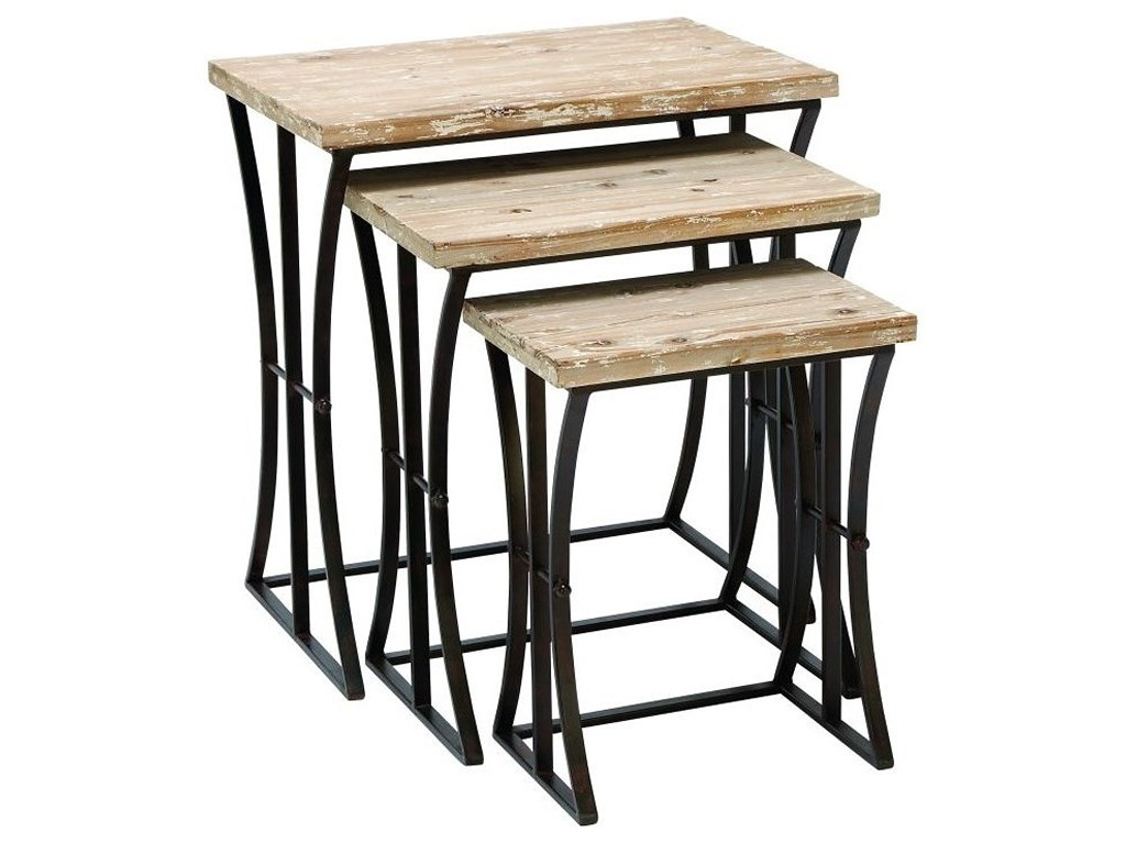 metal wood nesting tables set accent furniture uma products enterprises inc color drum table furnituremetal bedside legs small mirrored nightstand home goods wicker sofa blue
