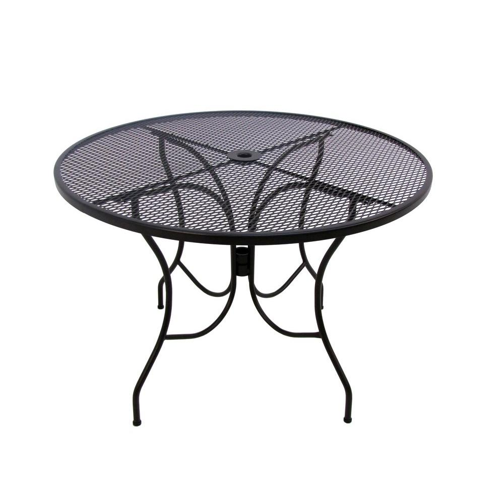 metal wrought iron patio furniture outdoors the arlington house dining tables jackson accent table glenbrook black round rustic dark wood coffee drum shaped bedside two drawer