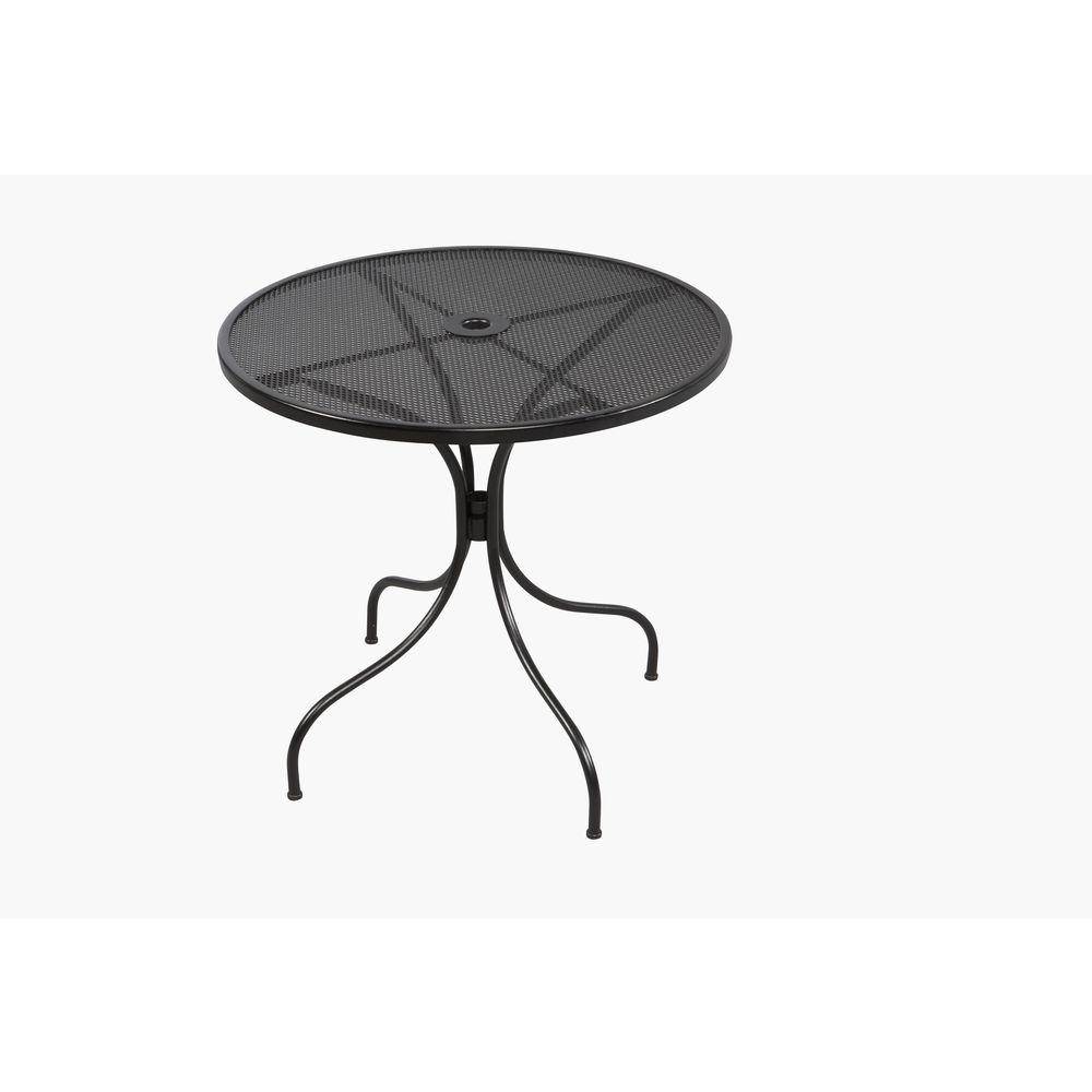 metal wrought iron patio furniture outdoors the hampton bay outdoor bistro tables jackson accent table round dining chairs wooden bangalore small drum shaped bedside battery
