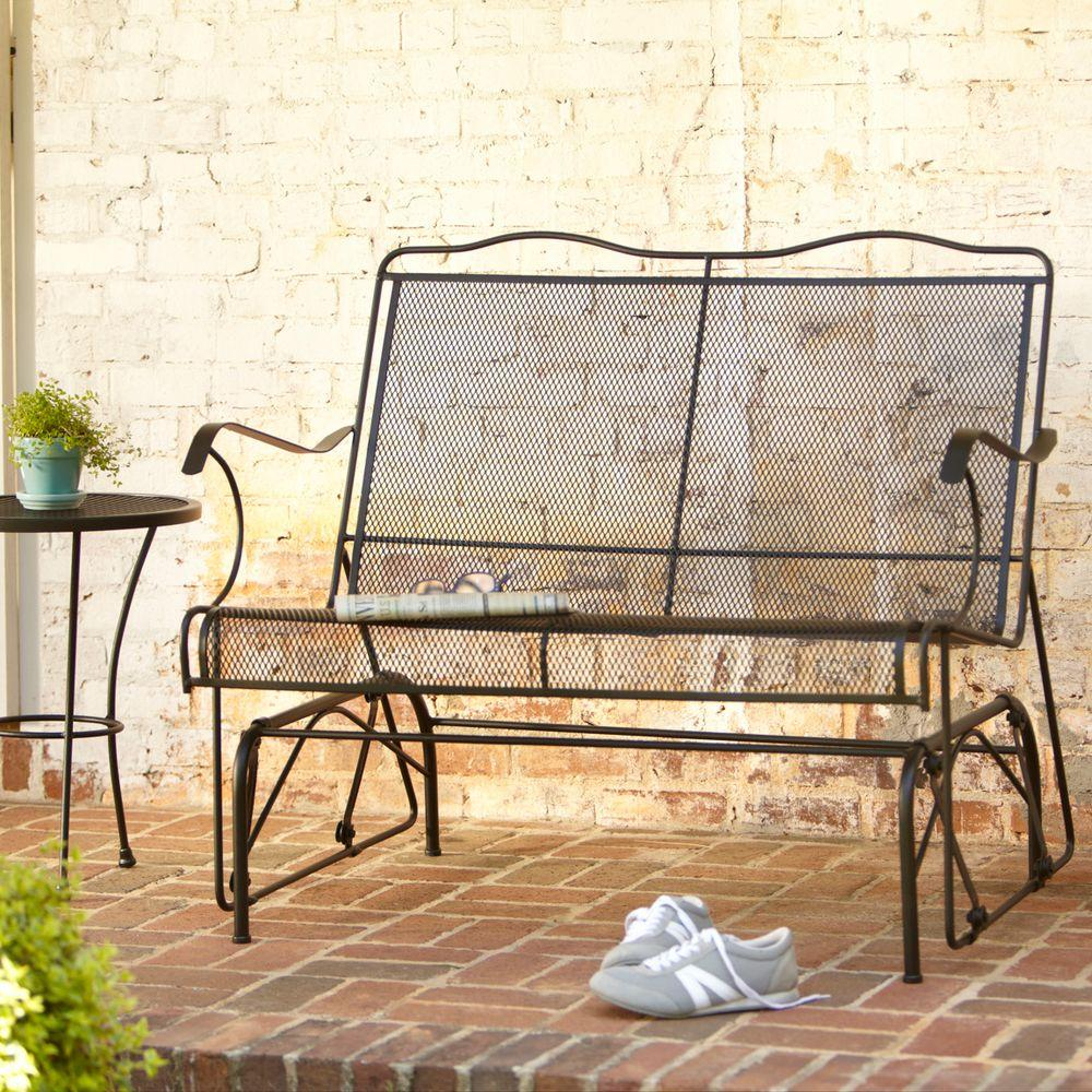 metal wrought iron patio furniture outdoors the hampton bay outdoor gliders jackson accent table loveseat glider marble desk pier one imports tables antique chairs ikea small side