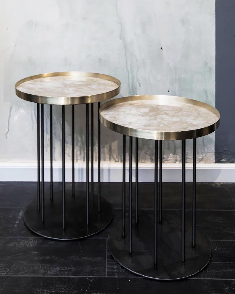 metaltables and videos social mate knurl nesting accent tables marblebrass hws the new side break all rules bare steel acrylic top coffee table trestle dining traditional