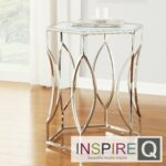 metro inspire davlin hexagonal metal accent table glass kona contemporary chrome hexagon kitchen dining small cherry wood silver round lamp ashley furniture nesting tables mirror 150x150