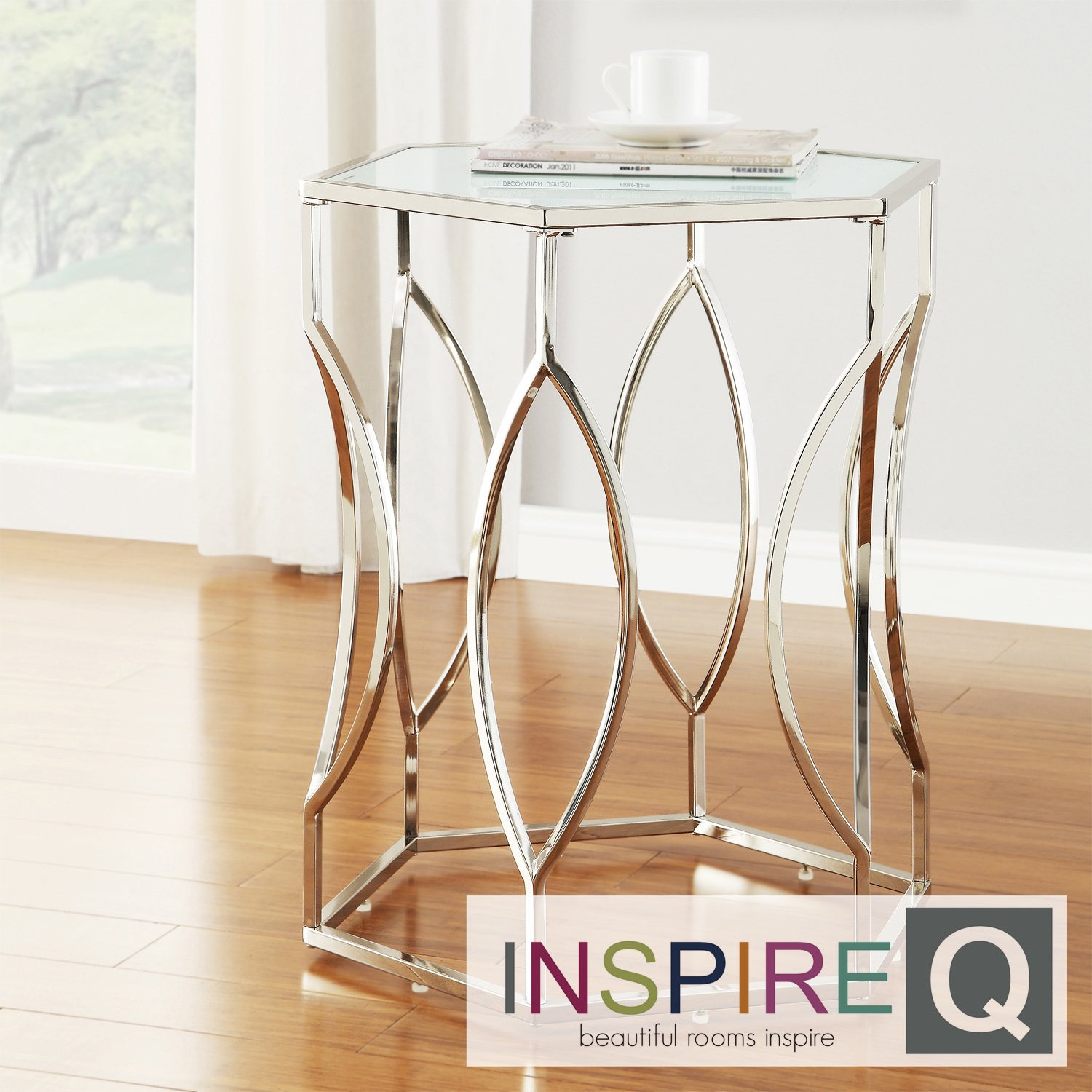 metro inspire davlin hexagonal metal accent table glass kona contemporary chrome hexagon kitchen dining small cherry wood silver round lamp ashley furniture nesting tables mirror