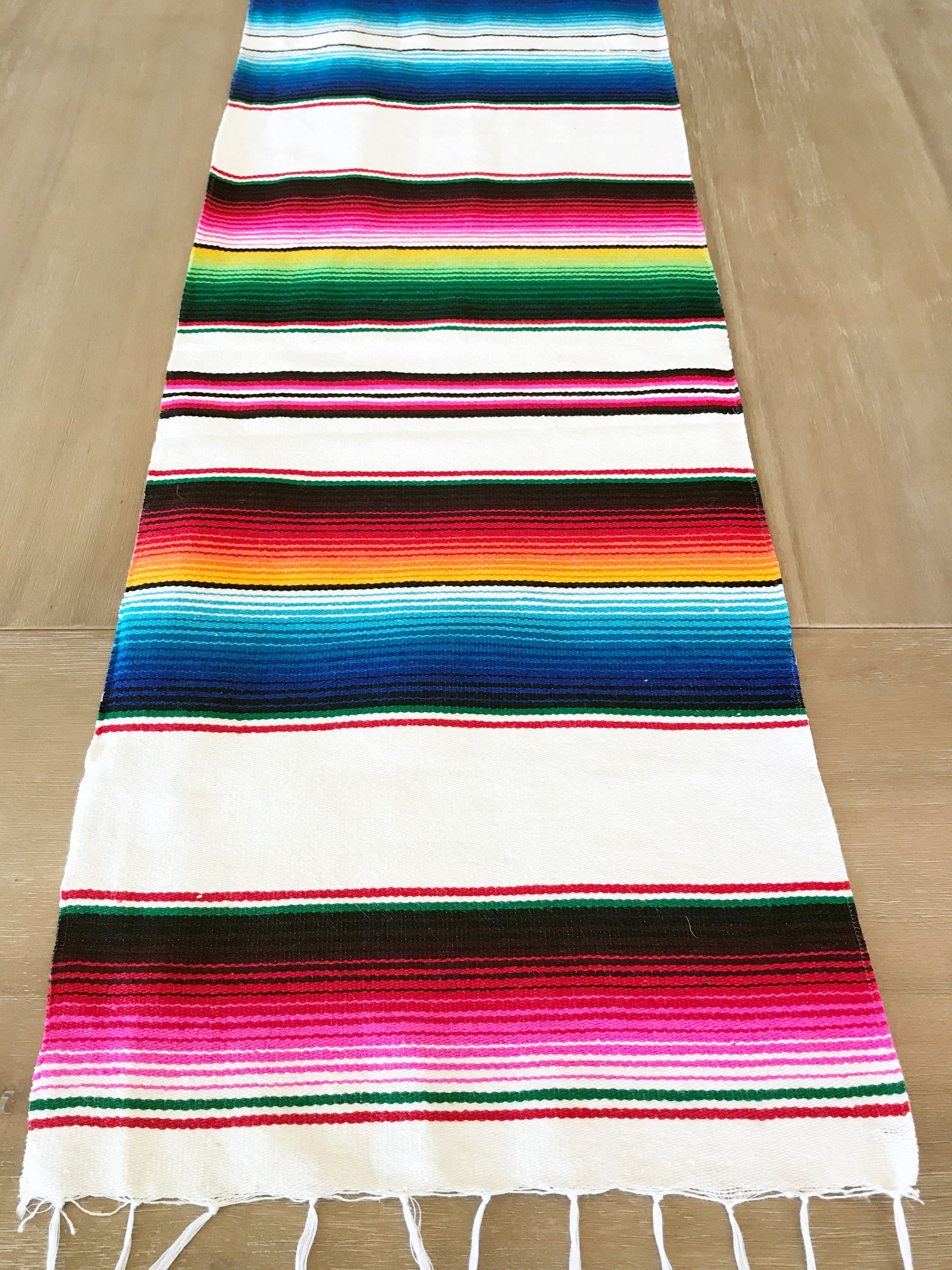 mexican serape table runner white colorful accents accent side outdoor bbq pier one dining furniture gray coffee and end tables copper small living wide low narrow pieces for room
