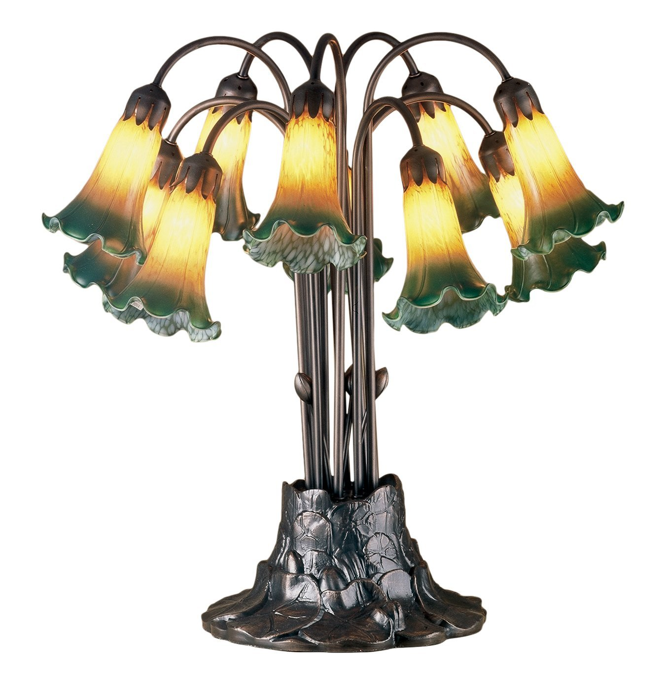 meyda tiffany pond lily light table lamp height amber accent lamps green entryway console cream colored nightstand corner elephant sculpture removable tray ikea high top small