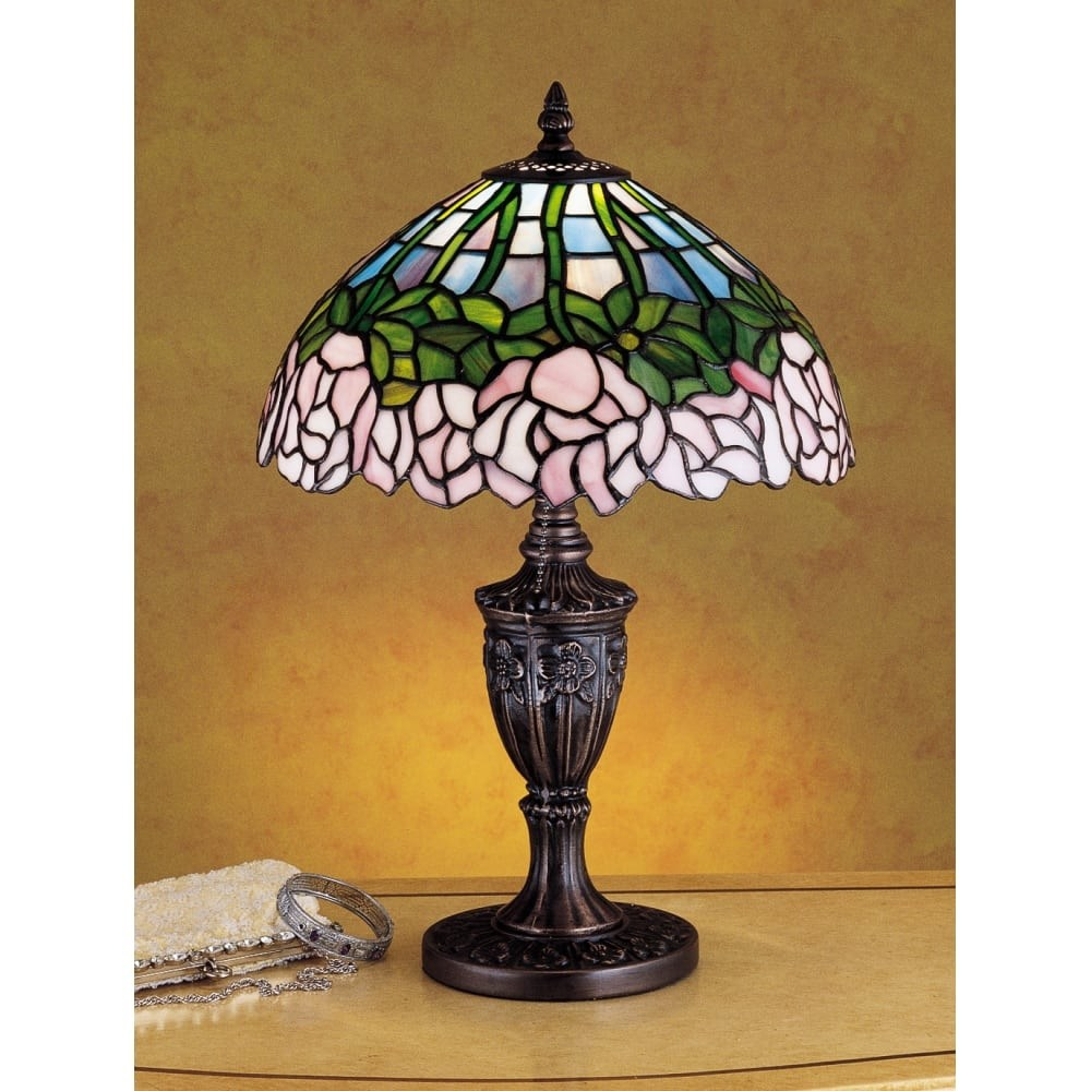 meyda tiffany stained glass accent table lamp from the cabbage rose collection lamps free shipping today square wood coffee distressed dining room furniture round side wicker