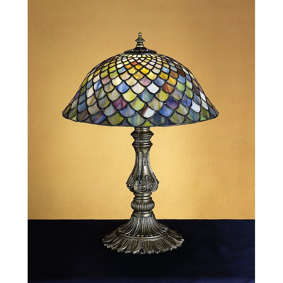 meyda tiffany stained glass accent table lamp from the fishscale collection free shipping today home decor accessories dark wood chest coffee tulip tile patio set outdoor