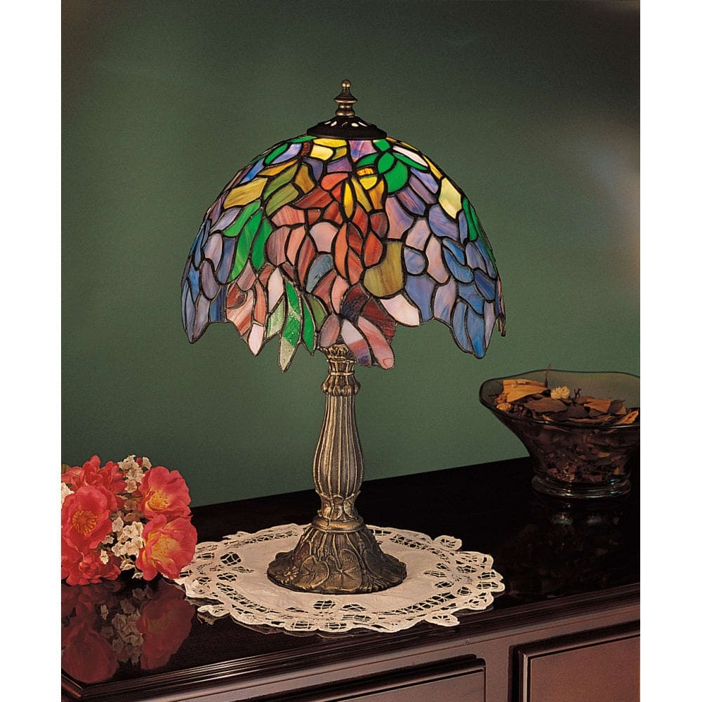 meyda tiffany stained glass accent table lamp from the floral trellis collection free shipping today dale leilani furniture dining latin percussion instruments home decor