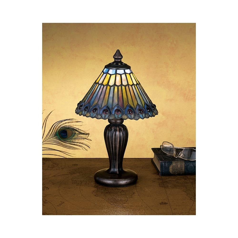 meyda tiffany stained glass accent table lamp from the jeweled peacock collection lamps free shipping today small chairside with drawer grill tools chestnut patio umbrella