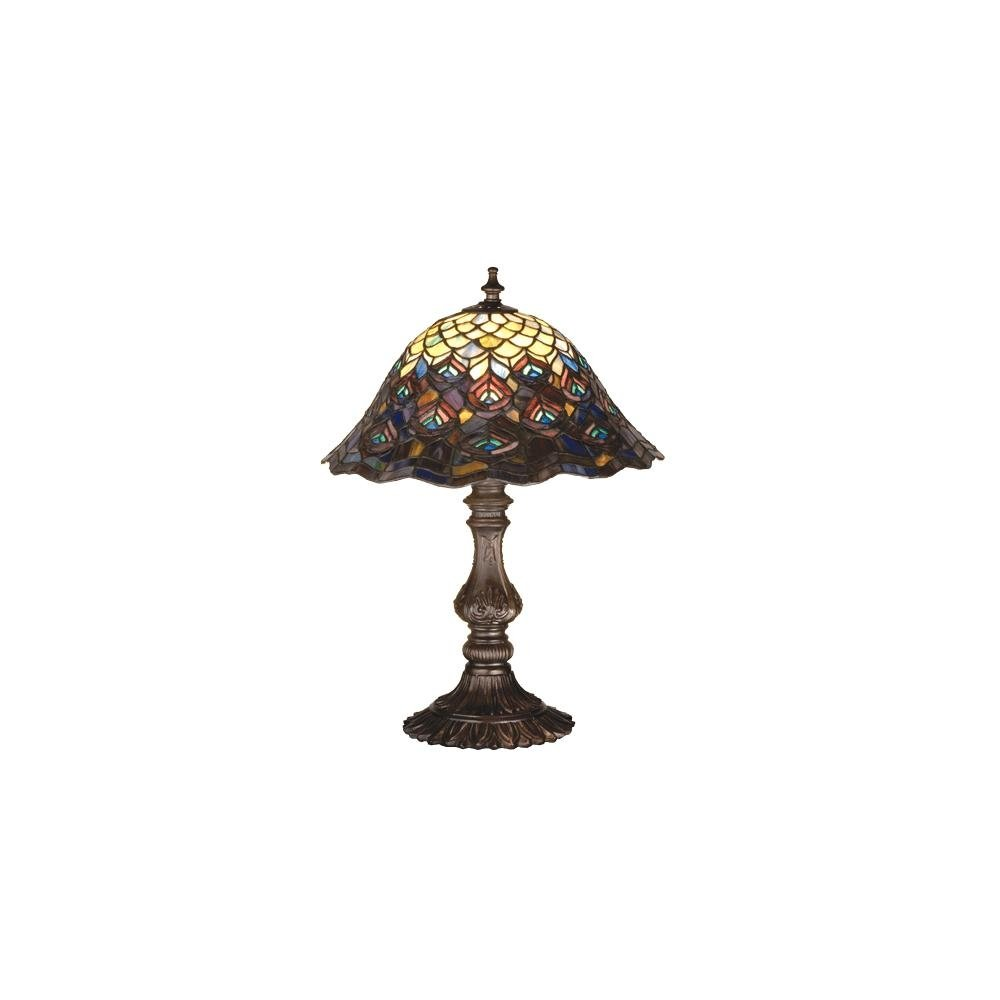 meyda tiffany stained glass accent table lamp from the peacock collection lamps mahogany bronze free shipping today console with doors white couch slipcovers simon lee furniture