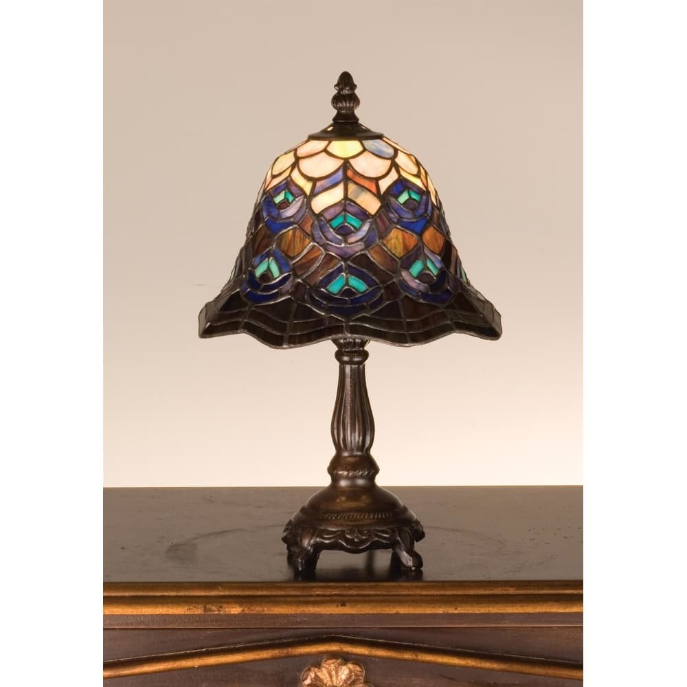 meyda tiffany stained glass accent table lamp from the peacock feather collection free shipping today teal kitchen decor umbrella stand chairs edmonton nightstand target farmhouse