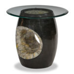 michael amini round accent table glass top blackstone act cpan copy red lamps for bedroom cooler drinks target gold console bayside furniture modern buffet black pipe side living 150x150