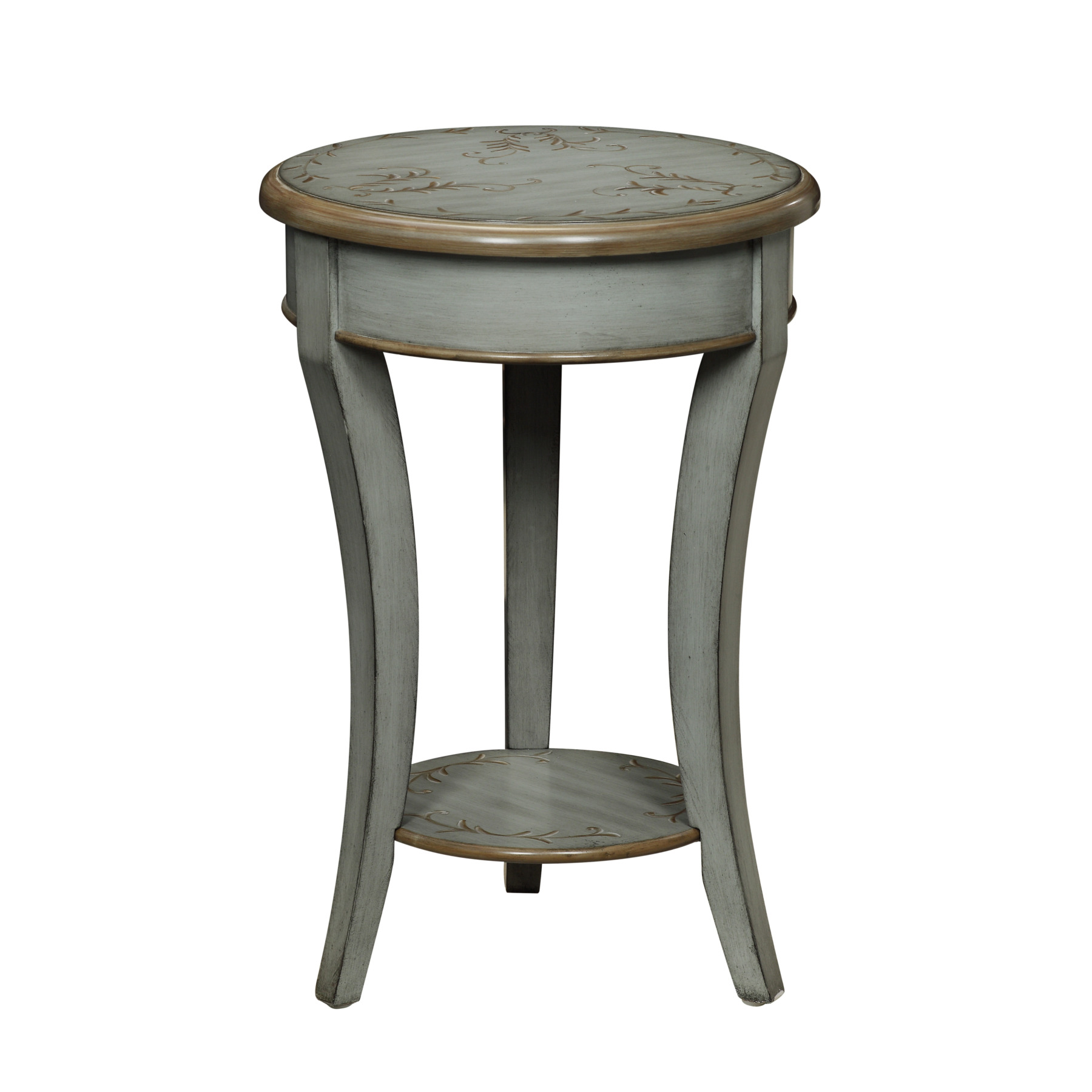 michael anthony furniture floral top greygreen round gray accent table wood target pallet end black console ikea folding chair leick corner computer desk linen covers chaise
