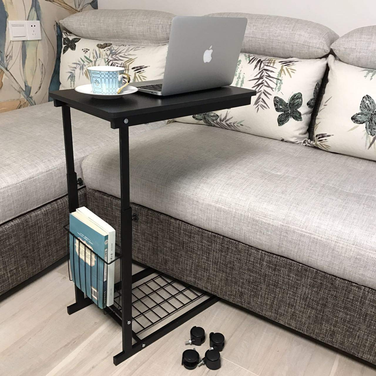 micoe height adjustable with wheels sofa side table extra long accent slide under console storage for entryway hallway kitchen dining metal end tables and coffee round hall