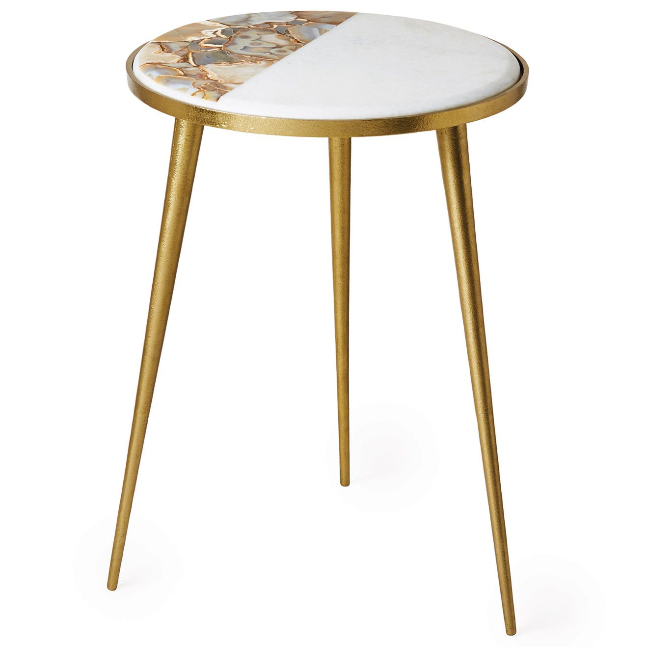 mid century influences lend the marble agate side table retro glass accent vibe this sleek metal furnishing showcases striking gold finish along petite round outside umbrella