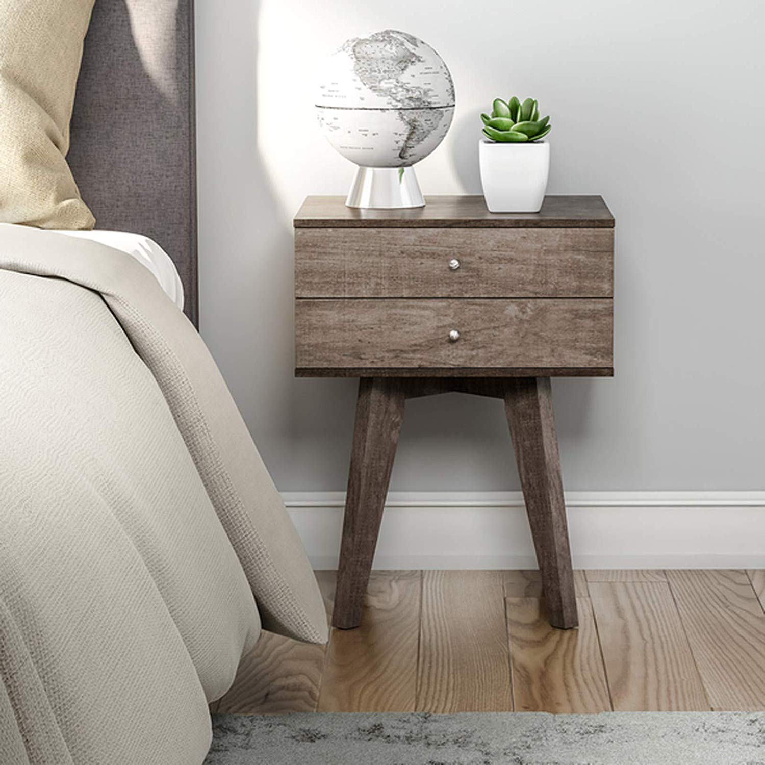 mid century modern bedroom nightstand with storage light wood accent table drawers bedside charcoal grey finish kitchen dining transition pieces for flooring small narrow ashley