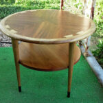 mid century modern lane acclaim round accent table vintage walnut ash shipping brass occasional mosaic outdoor set small kitchen counter lamps target wood bench crosley furniture 150x150