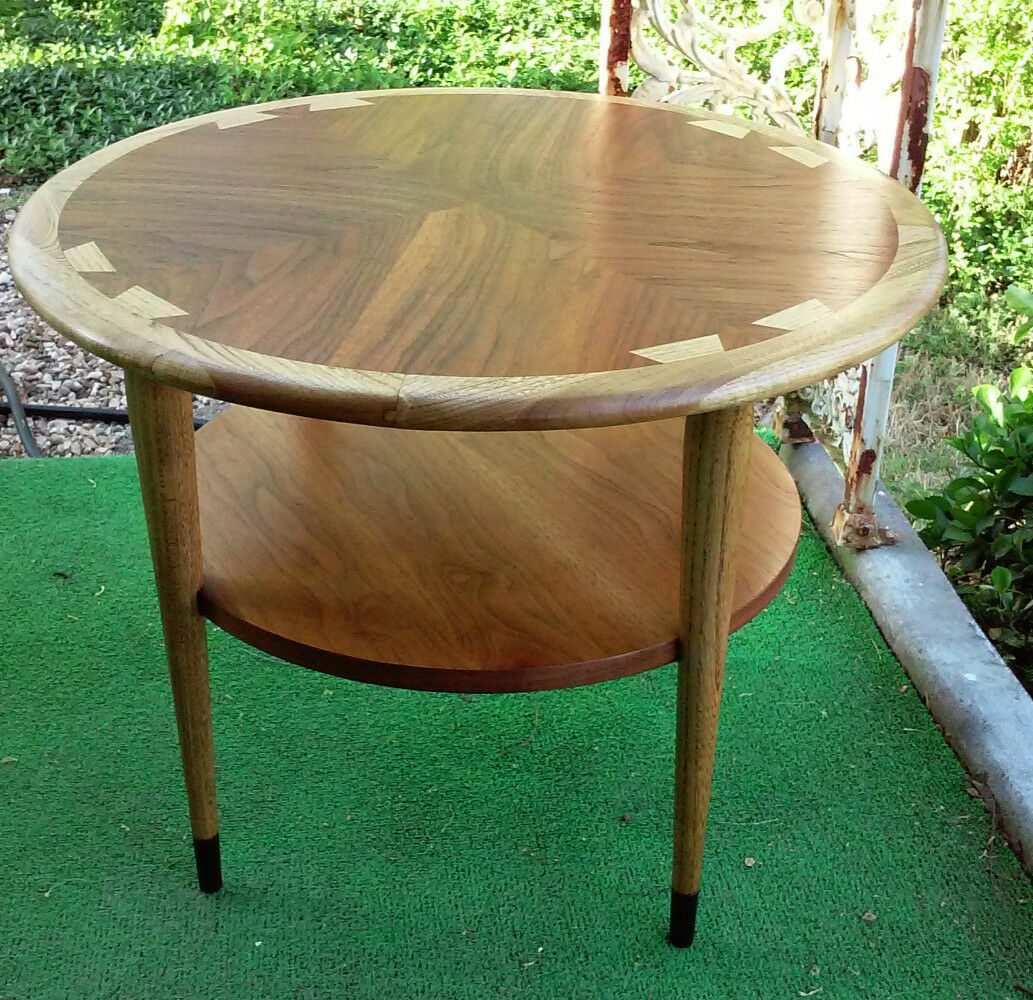 mid century modern lane acclaim round accent table vintage walnut ash shipping target dinosaur bedding high top dining for antique serving marble coffee brass heavy duty drum