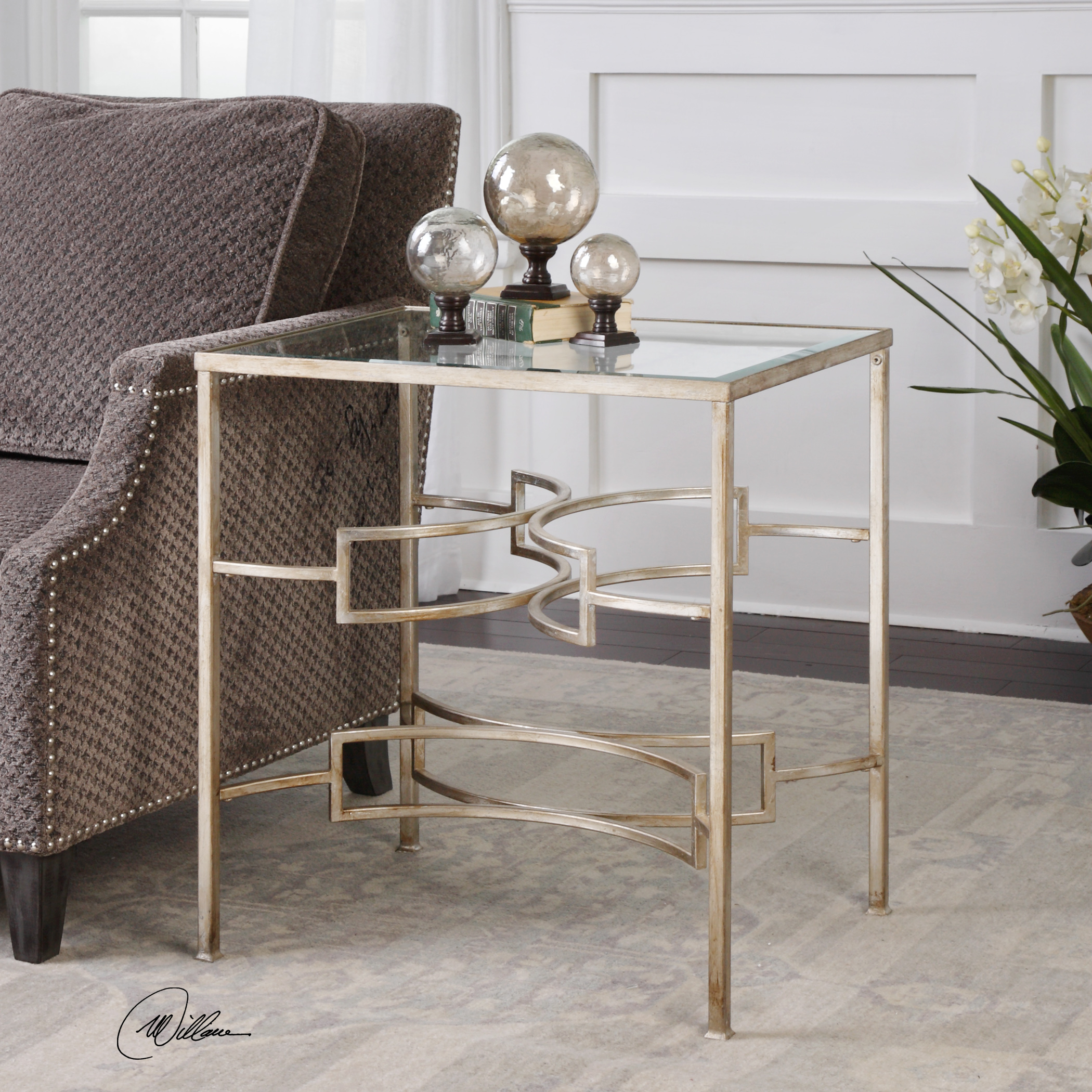 mid century modern open silver accent table iron metal glass top furn gray mini furniture target rose gold side end with shelf bedroom nightstand lamps coastal decor antique wood