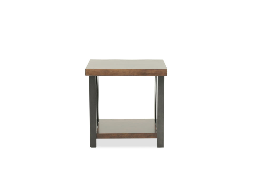 mid century modern rectangular end table dark brown mathis ash room essentials trestle accent the warm finish top and black base ooze with traditional elegance giving complete
