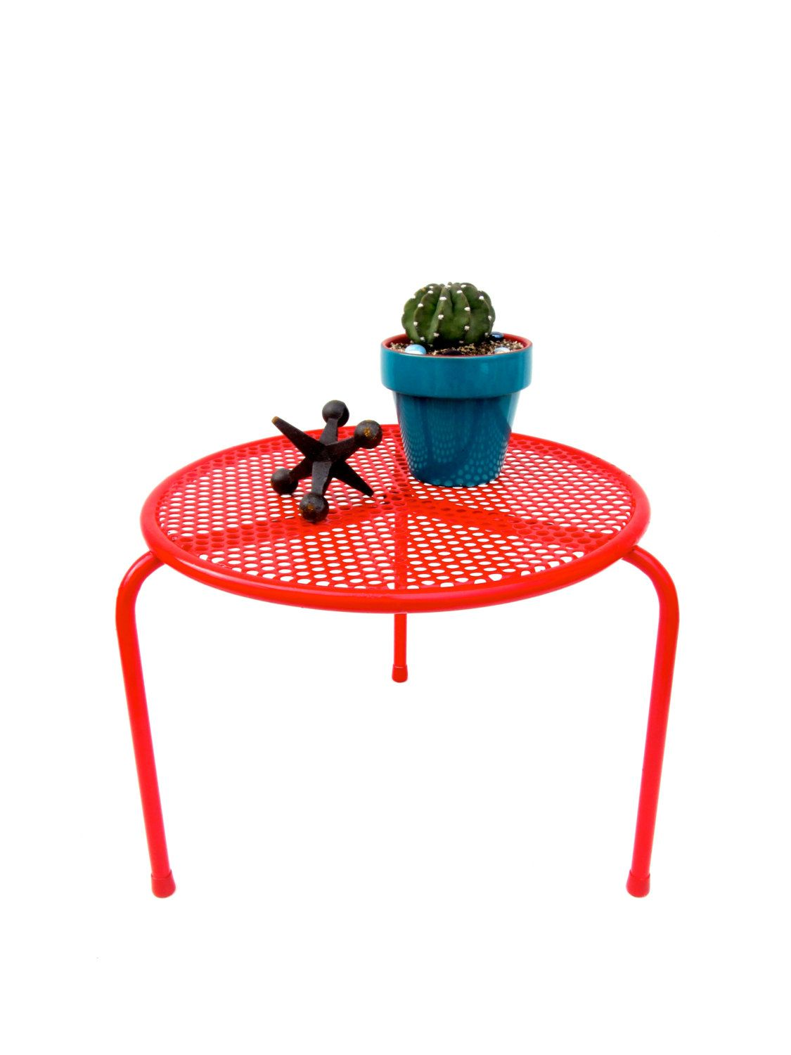 mid century modern red metal mesh table plant stand talin outdoor accent vintage retro small mcm indoor furnishing electricmarigold etsy target ott fold away desk tablecloth for