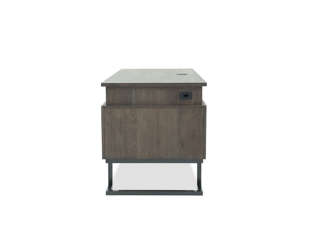 mid century modern seven drawer executive desk dark brown asp ihp fsl metal eyelet accent table this facilitates cord management using its grommets and stands firmly bar cupcake