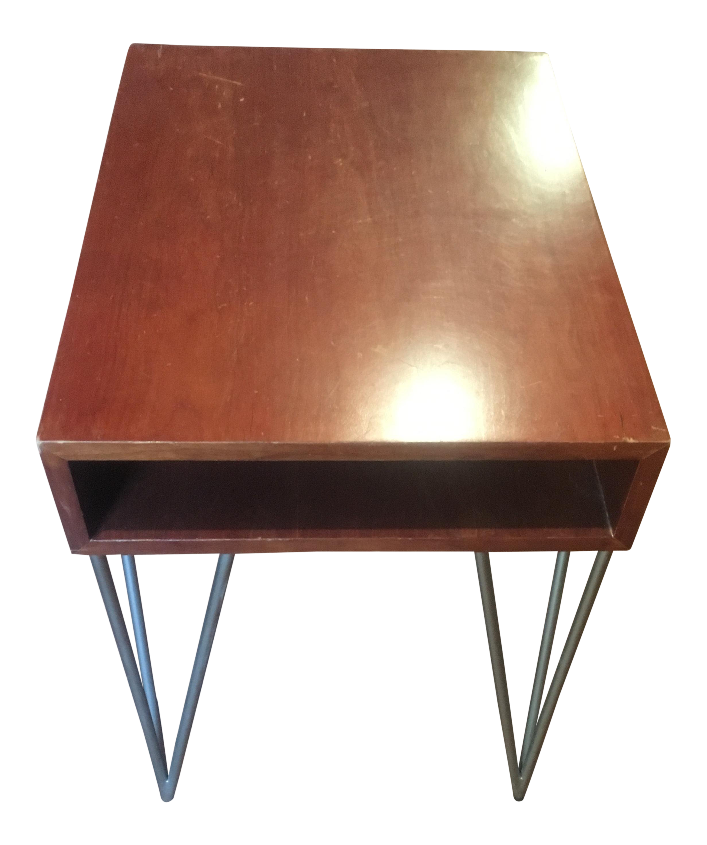 mid century modern todd oldham end table with hairpin legs chairish leg accent bourse foldable coffee led night light large concrete dining distressed console industrial look