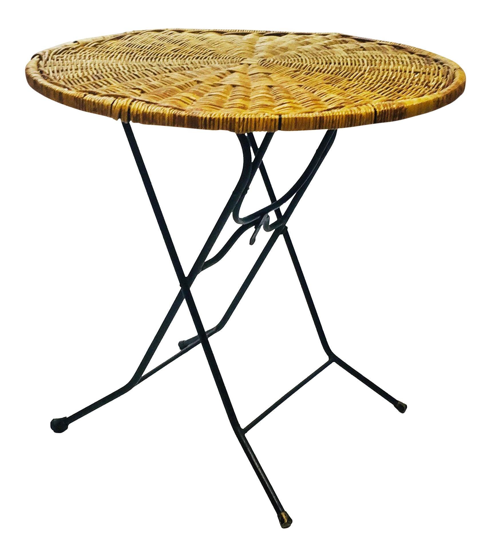 mid century modern wicker iron round folding side table chairish and foldable accent brown indoor teak furniture bistro height living room with drawers wooden floor lamp attached