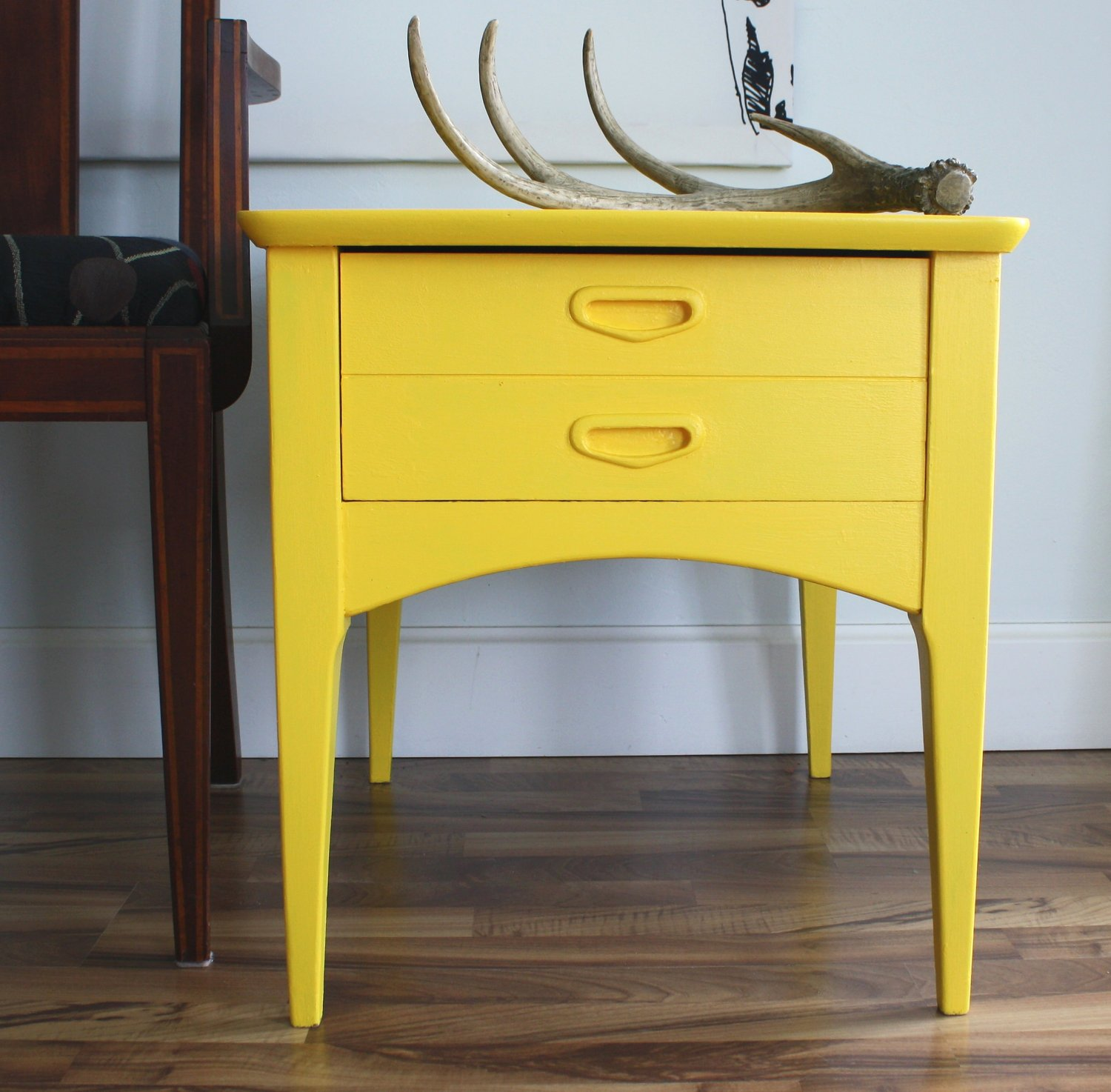 mid century modern yellow side accent table with drawer drum small bedroom nightstand lamps dining room target dinosaur bedding faux marble short pier one imports antique serving