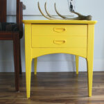 mid century modern yellow side accent table with drawer plastic round ikea end designs painted furniture glass coffee decor coastal lamps bronze curtains diy plans kitchen 150x150