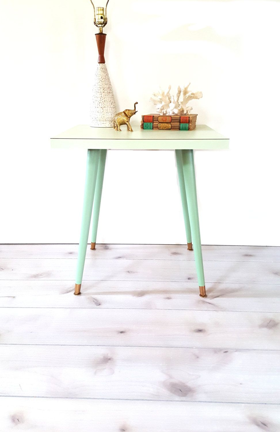 mid century table side accent night stand end mint green retro atomic taper leg formica luckyhomefinds etsy nautical pole lamps patio sofa set clearance small with lamp attached