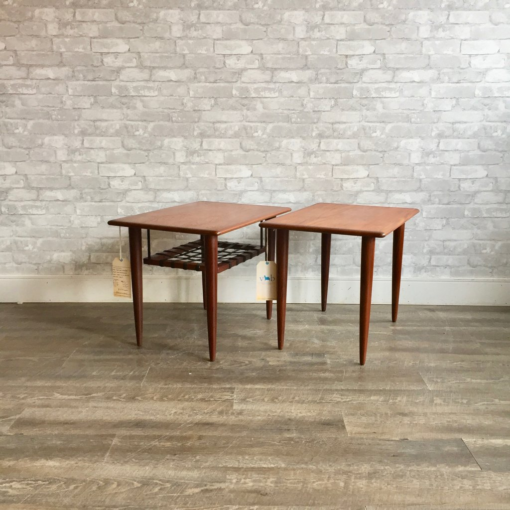 mid century teak and rosewood accent tables table barn style end grey coffee ikea garden shelf rechargeable lamps for home salvaged trestle dining room furniture house interior