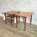 mid century teak and rosewood accent tables table dark brown coffee set small grey sitting room chairs turquoise bedside lamps essentials desk cool sofa side height counter 150x150