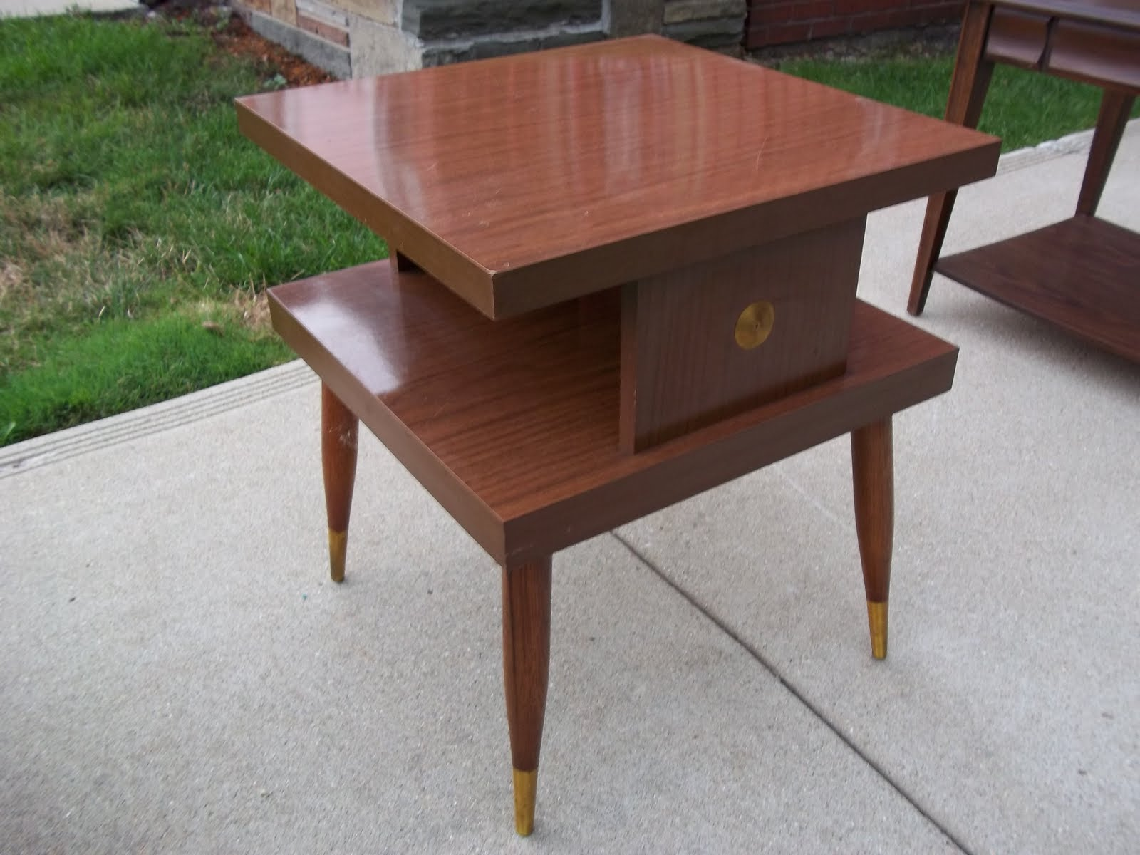 mid century tiered square side end accent table sold small low near perfect laminate midcentury with solid wood legs gold medallion center and foot covers highlight this nice