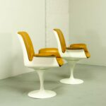 mid century tulip swivel chairs with armrests style eero midcentury danish italiandesign cognac leather fiberglass pedestal side easy designer knoll saarinen chair design armchair 150x150