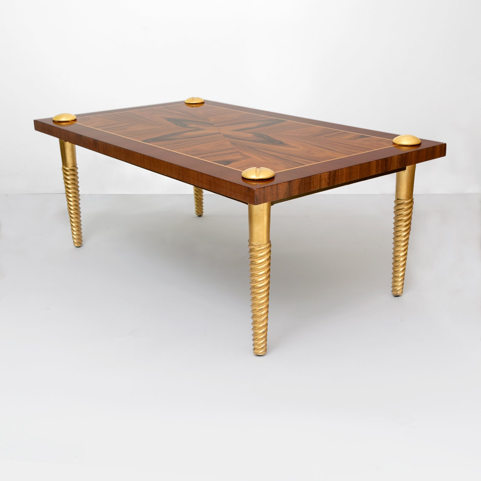 midcentury modern marquetry coffee table with giltwood screw legs gilt leg round accent for stratford wicker folding bronze gold floor lamp black and grey rug bathroom slippers