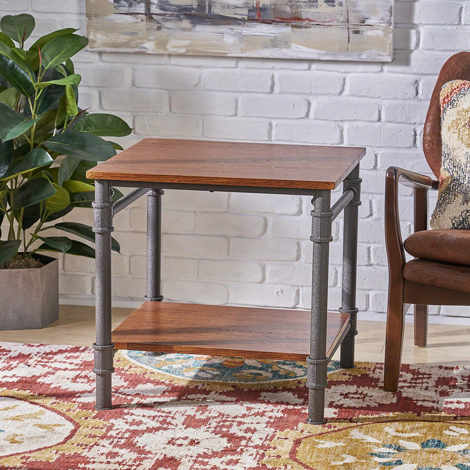 mila industrial faux wood end table teak finish square accent kitchen dining mosaic tops outdoor pottery barn round glass coffee pedestal foyer tablecloth lamps for living room