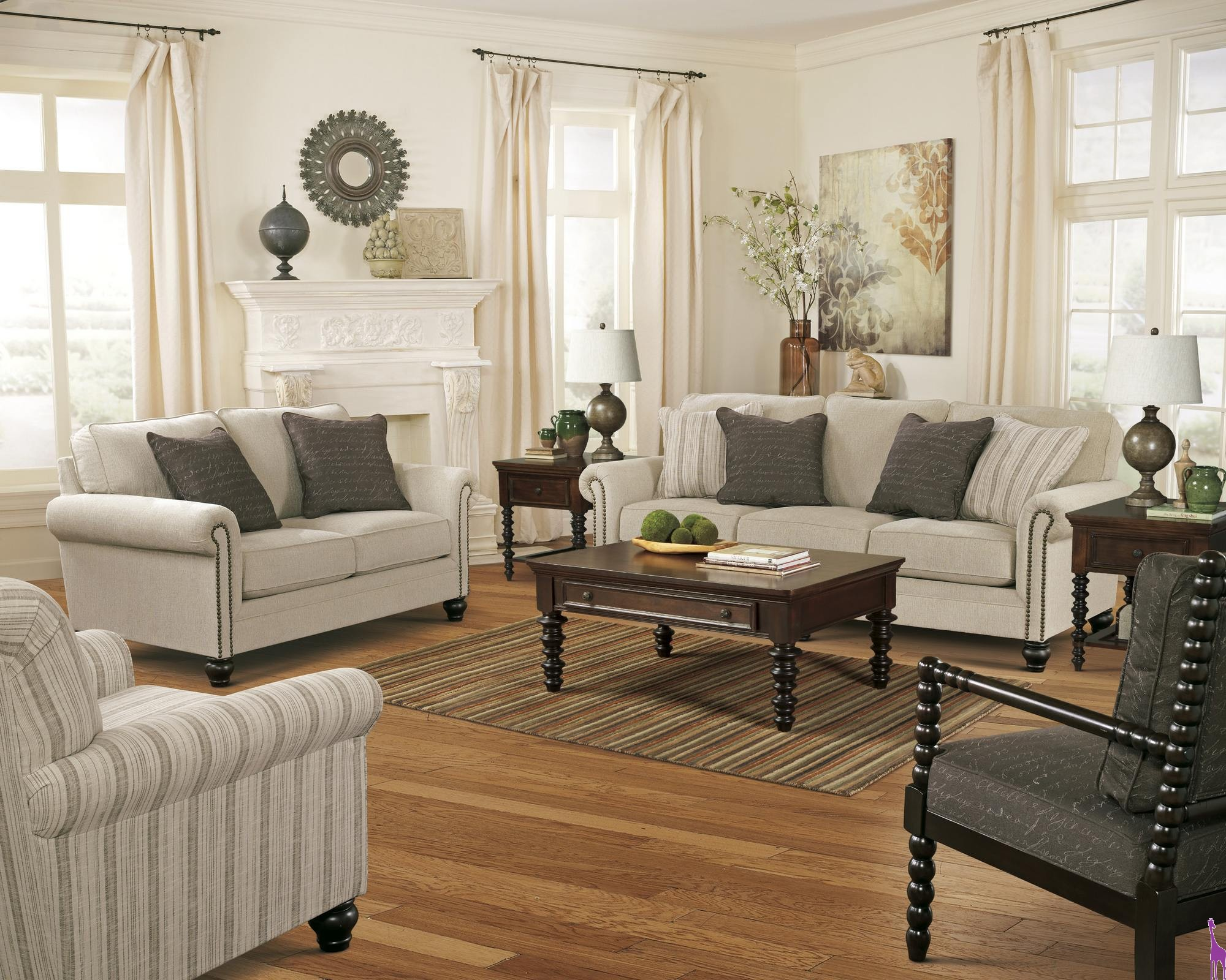 milary living room set ashley piece accent chair and table round white wicker uttermost laton mirrored sofa vita lighting battery operated wall clock side over arm mosaic bistro
