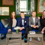 miles redd new manhattan office the peak tres chic bloglovin kidney accent table and his team pose sofa their main room fittingly covered bold green silk velvet bedside tables 150x150