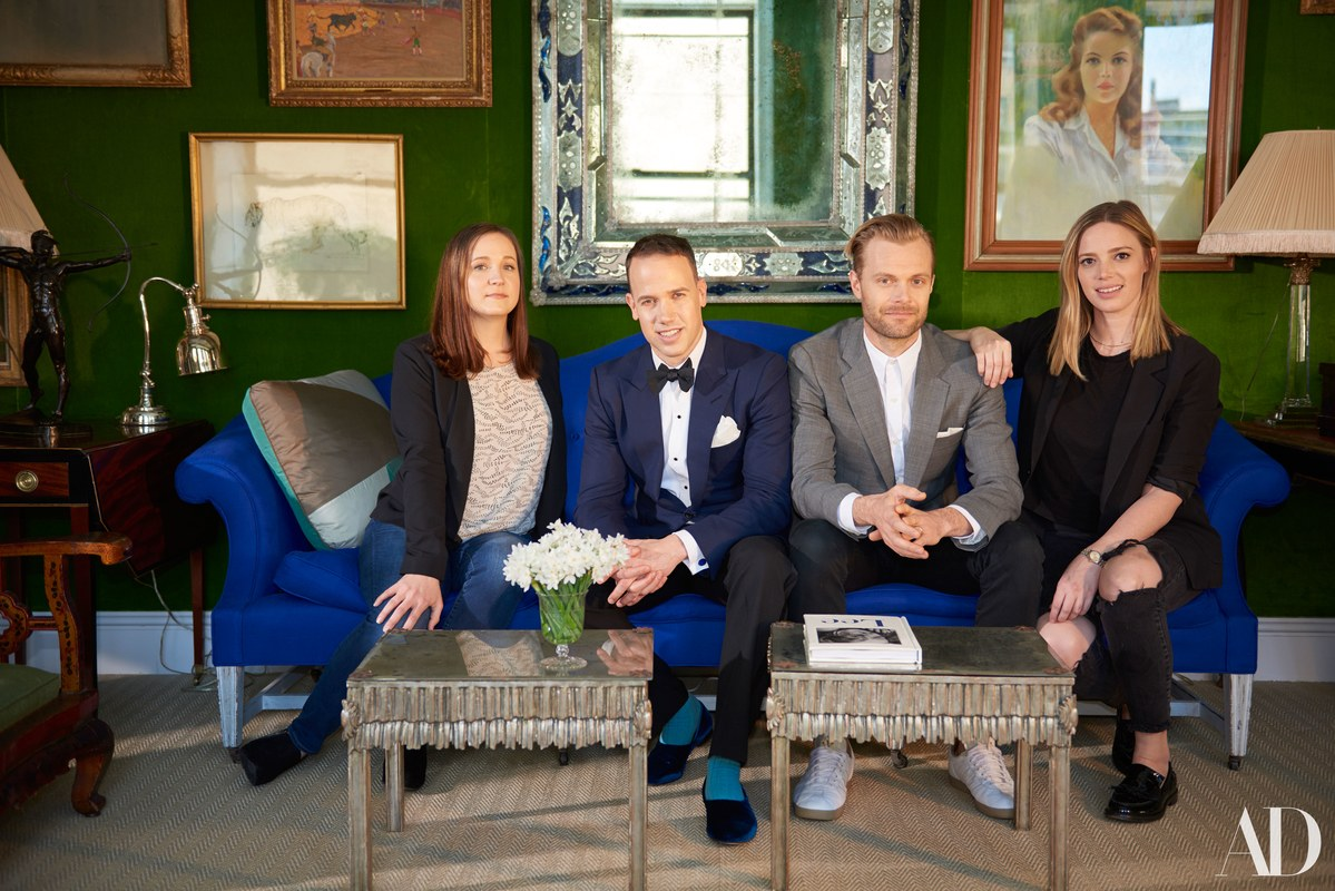 miles redd new manhattan office the peak tres chic bloglovin kidney accent table and his team pose sofa their main room fittingly covered bold green silk velvet bedside tables