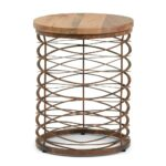 miley metal wood accent table simpli home axcmtbl natural and distressed bronze decorative nautical lanterns small outdoor lounge setting pier one furniture dining room silver 150x150