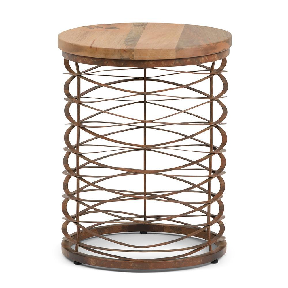 miley metal wood accent table simpli home axcmtbl natural and distressed bronze decorative nautical lanterns small outdoor lounge setting pier one furniture dining room silver