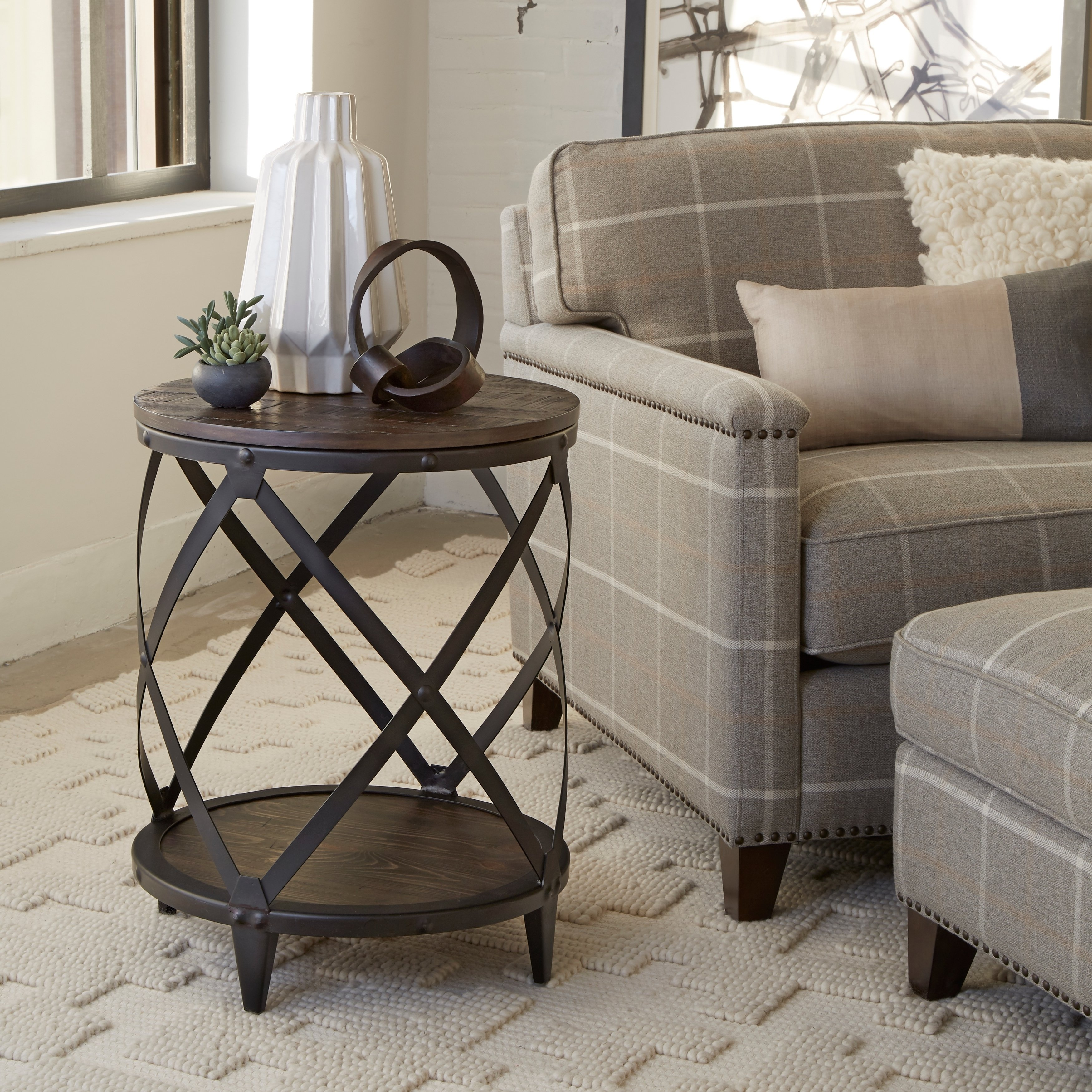 milford industrial weathered charcoal wood and metal accent table behind couch free shipping today monarch hall console dark taupe pier locations trestle size lamps plus lynnwood