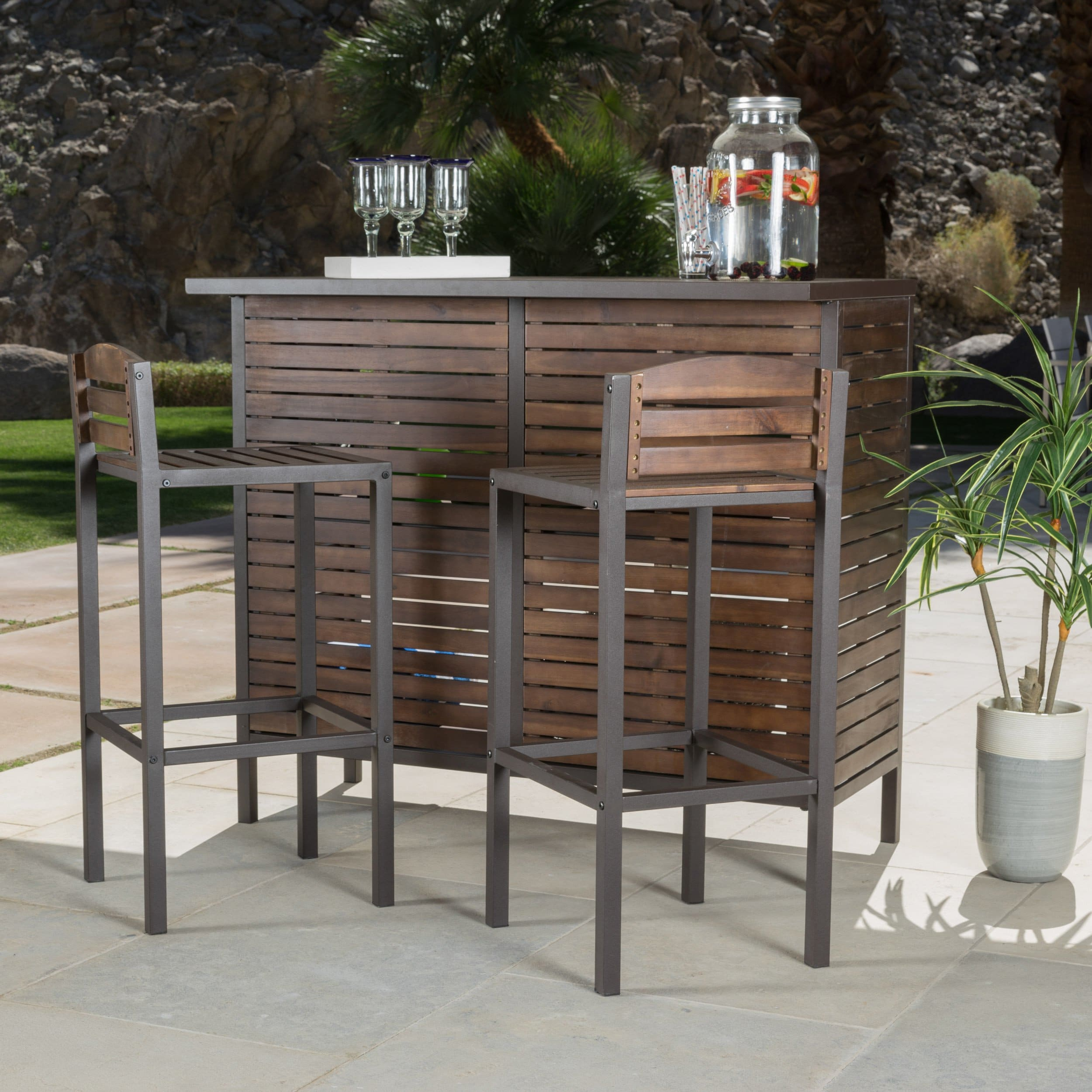 milos outdoor piece acacia wood bistro bar set christopher knight home accent tables clearance free shipping today patio cover led battery table lamp small cherry coffee kitchen