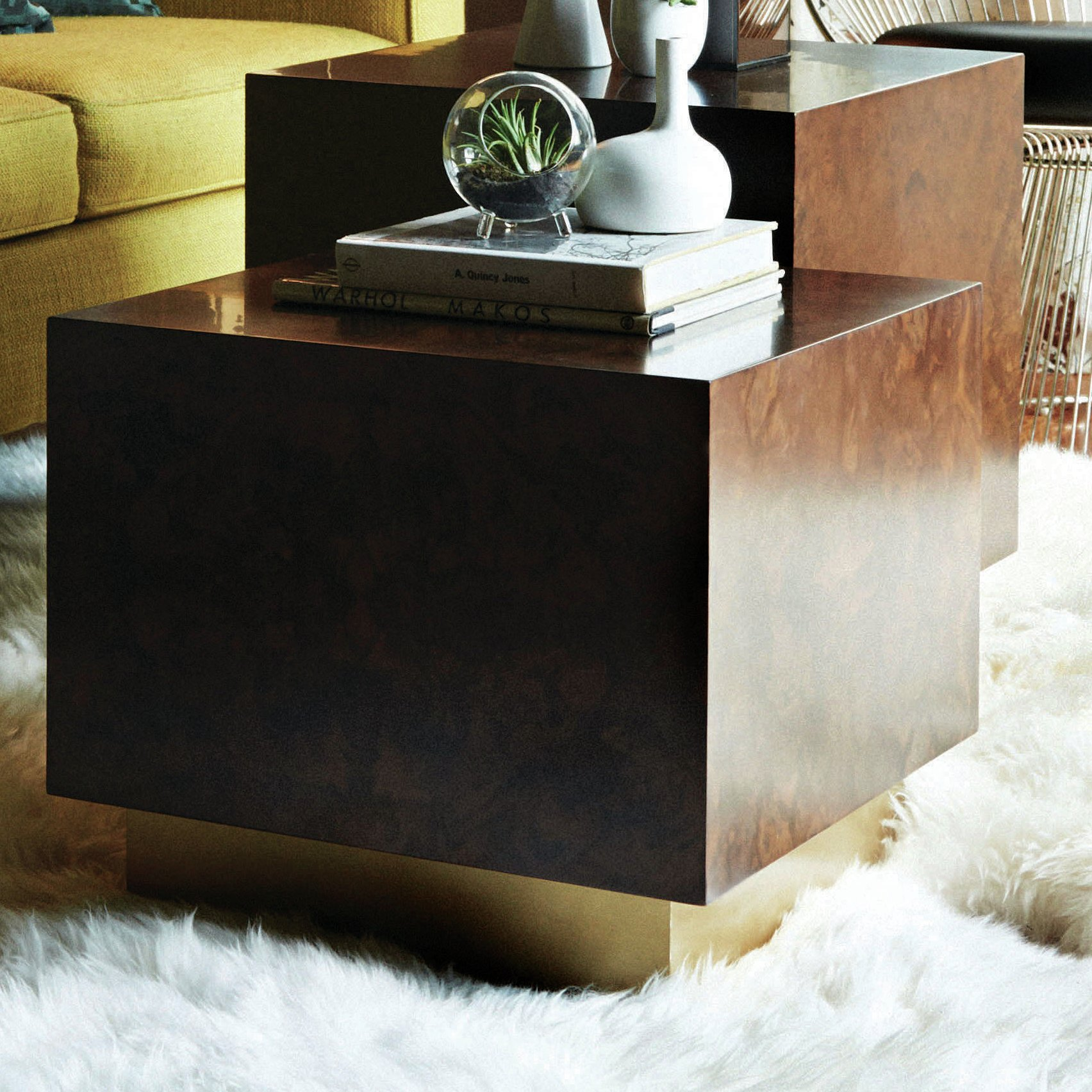 milton burl cube end table wood accent side light parker furniture room essentials mirror white crystal lamp and gold oversized armchair target bedside lamps circular nest tables