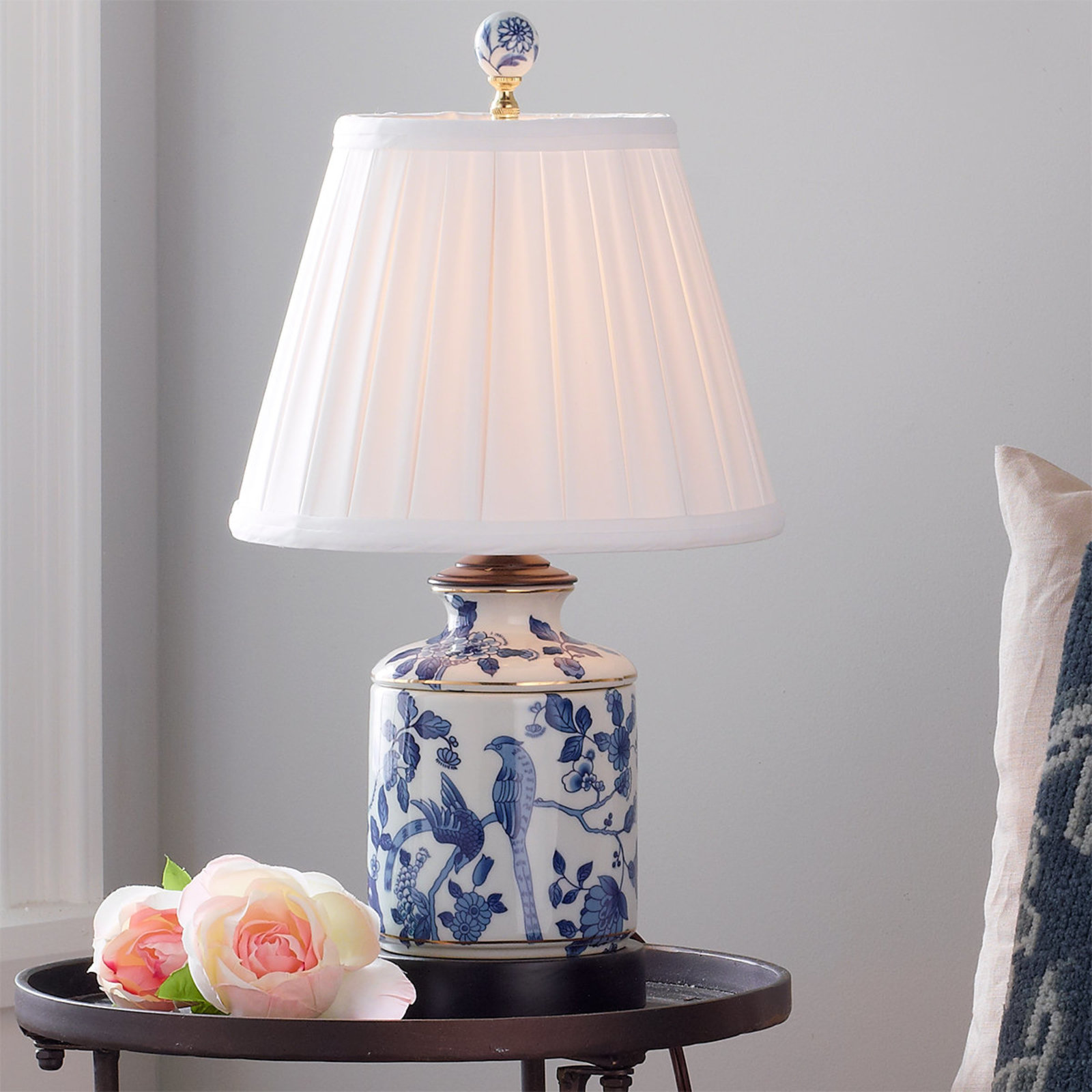 mini blue and white porcelain jar table lamp shades light accent lamps winsome gold glass side hampton bay outdoor dining set bunnings storage tablecloths for round tables inch