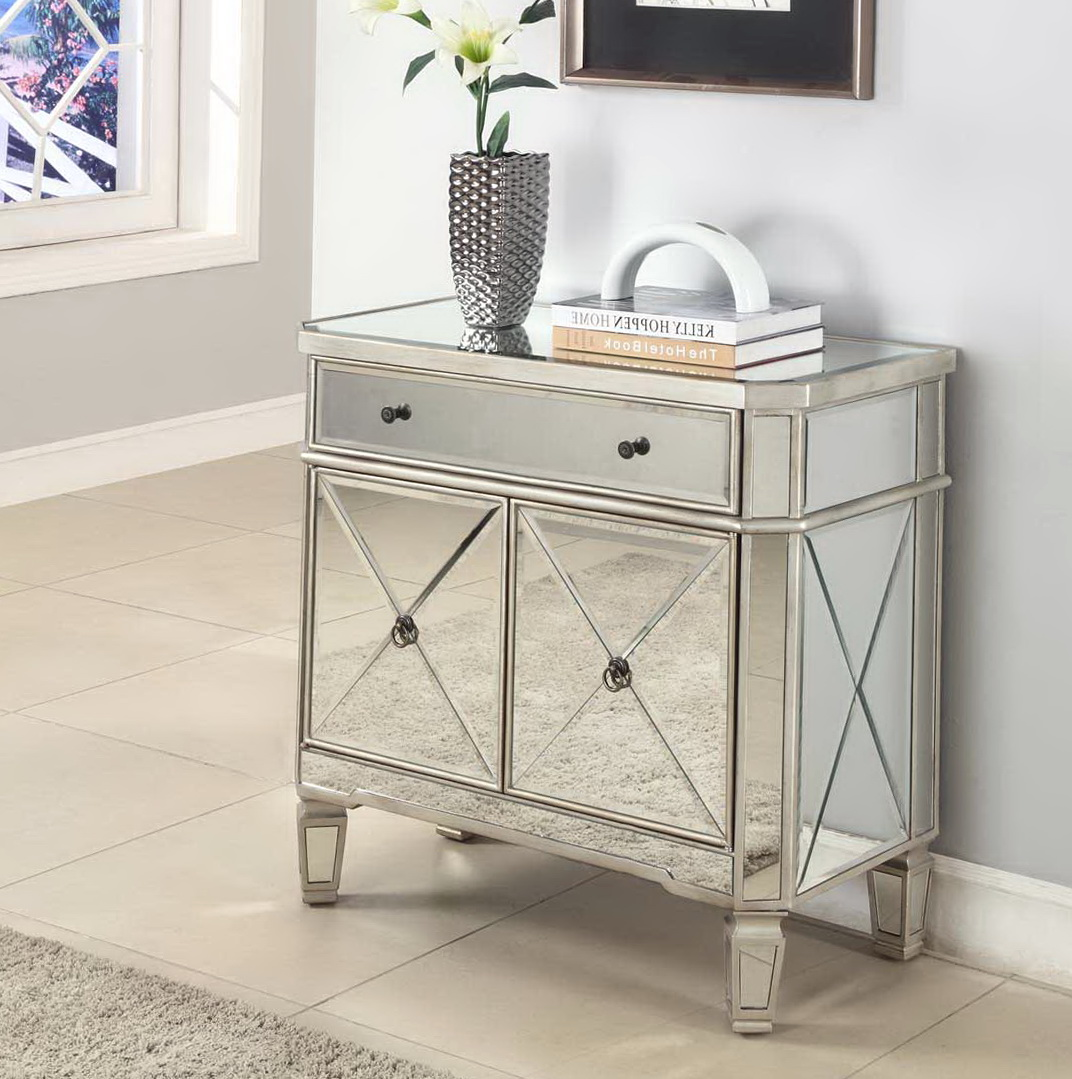 mini living room with threshold mirrored accent table and beige ceramic floor tiles silver flower vase area rug originalviews breakfast set counter height trestle dining cabin