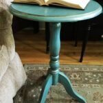 minute side table makeover and frugal mommas linky painting painted metal accent using metallic cream paint sponsored country chic thechelseaproject furniture white drum unique 150x150