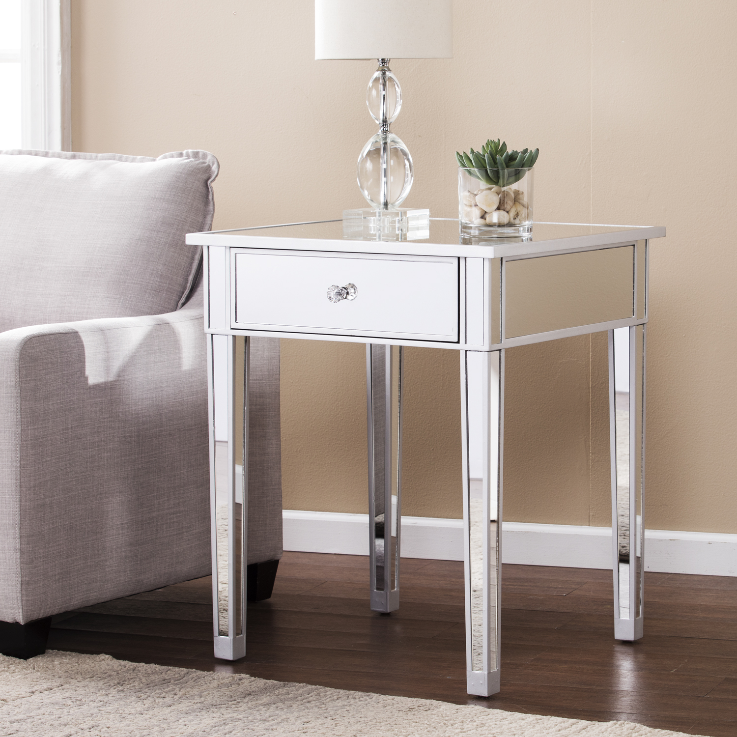 mirage mirrored accent table with drawer rustic living room end tables metal folding side high legs ikea garden chairs narrow console shelves pier outdoor furniture magnussen home