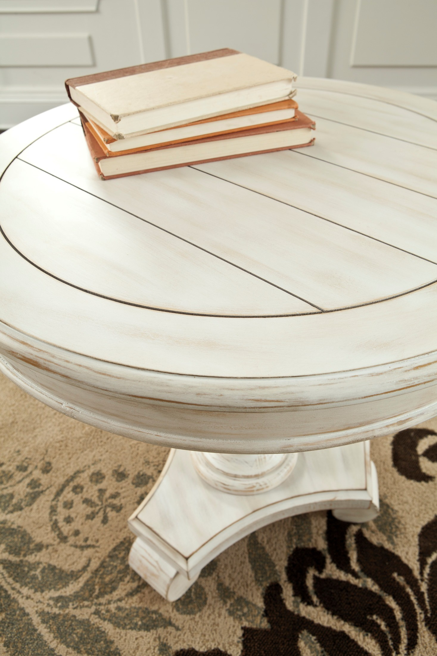 mirimyn white painted round accent table from ashley detail outdoor glass top side zinc quilted runner ideas danish modern foot patio umbrella affordable nightstands family room